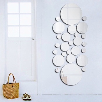 Geometric Circle Mirror Wall Sticker Home Background Decoration Home Decoration 3D Accessories Stereo Removable Round Mirror 1