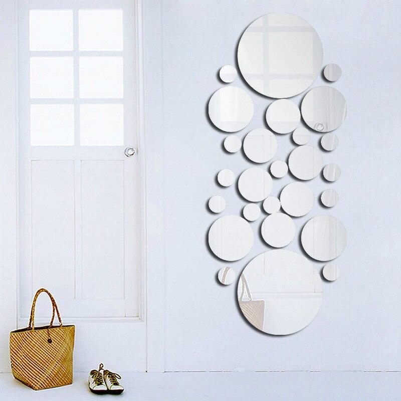 Геометрический круг 3D Стерео Съемный зеркальный настенный стикер домашний фон украшение для дома аксессуары круглое зеркало|Декоративные зеркала|Дом и сад - AliExpress