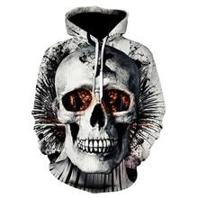 S-3XL Plus Size Men Clothing Hoodies 2019 Autumn Winter Long Sleeve Hooded Neck Sweatshirt Male Casual 3D Skull Printing