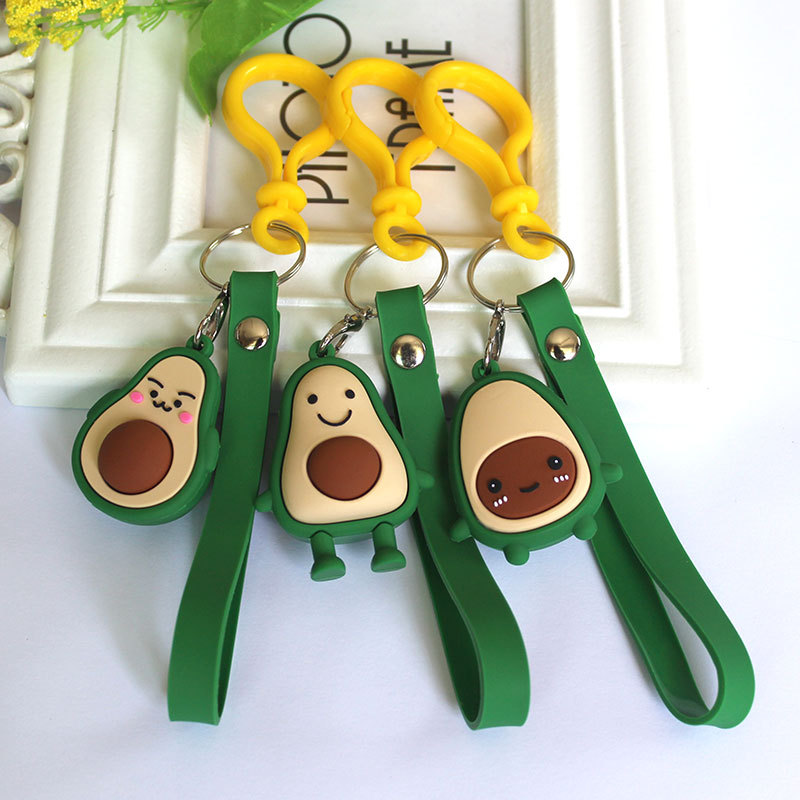 Creative Cute Avocado Keychain Cartoon Epoxy Fruit Pvc Doll Bag Pendant Car Key Ring Accessories Gifts