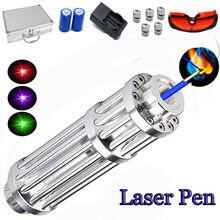 Alta poderosa azul laser 2w tocha 450nm 10000m focalizável verde ponteiro laser vermelho caneta lanterna queimar fósforo vela aceso cigarro