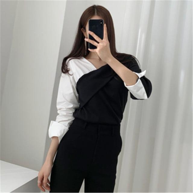 Фото женская повседневная блузка осенняя винтажная цветная блузка цена