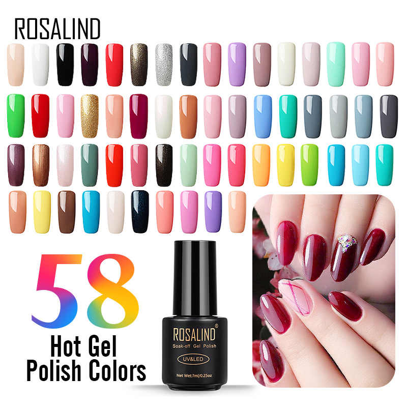 Vernis híbrido semi permanente do gel uv do verniz do gel de rosalind 7 ml para o verniz poli da base do verniz do prego do verniz do prego