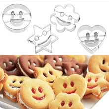 Biscuit Mold Cookie-Cutter Baking-Tools Sugar Fondant Stainless-Steel Smiley 4piece