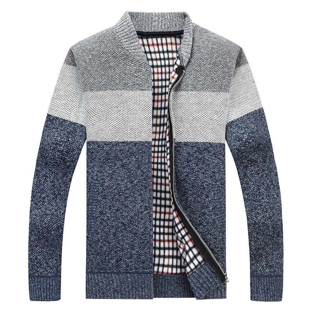 Men's Sweater Coat Autumn Casual Stand Collar Zipper Mens Warm Sweaters Slim Fit Standard Coat Men M-3XL Red Blue MWK003