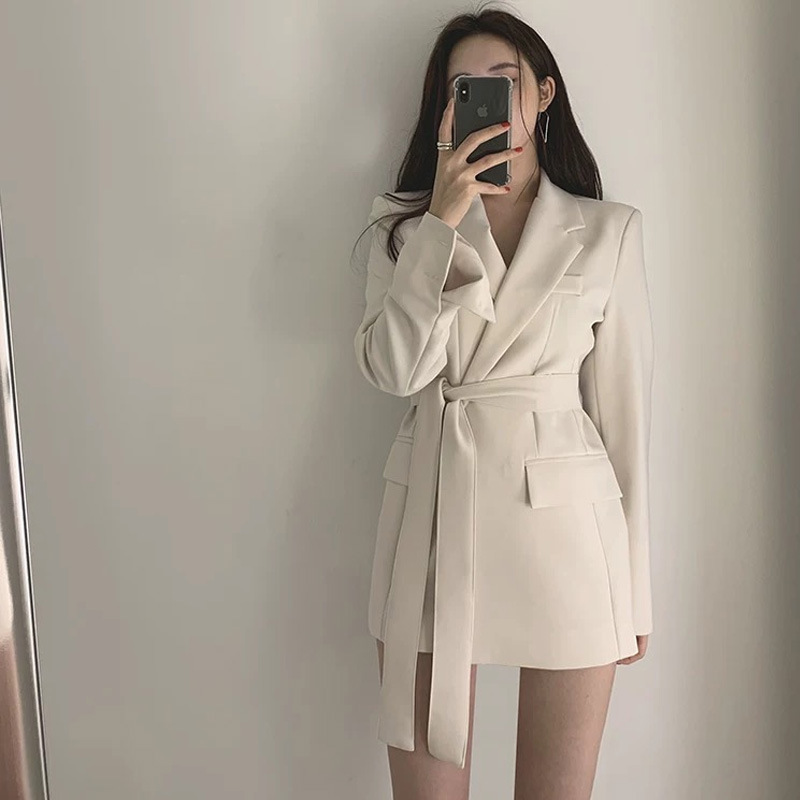 LANMREM 2020 Casual Vintage Suit With Belt Spring And Summer New Chic Temperament Blazers For Female Tide Long Sleeve Coat YJ374