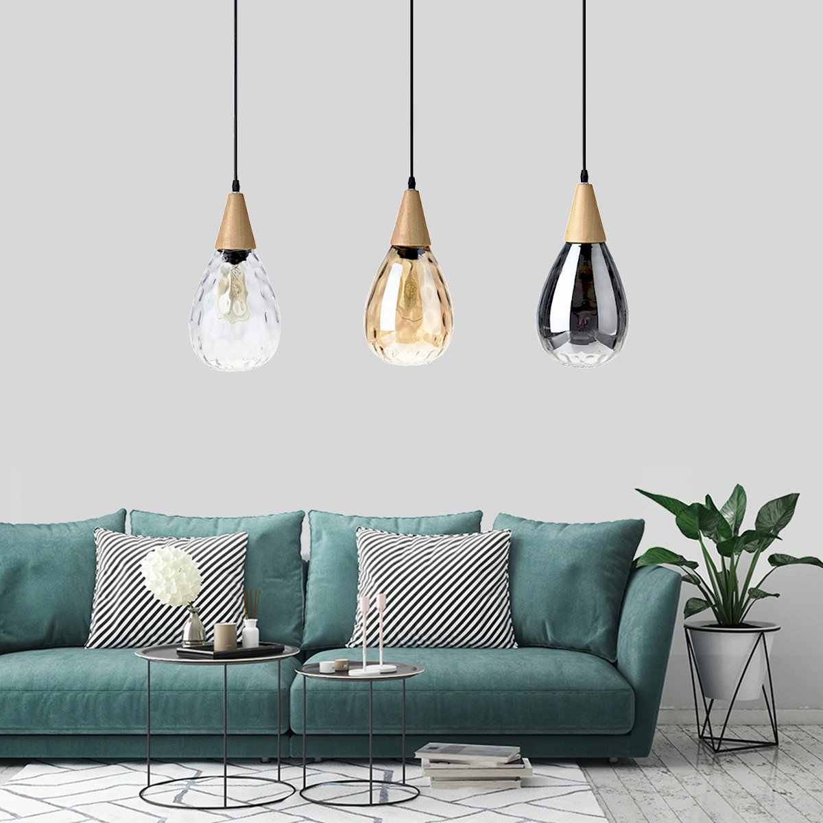 Modern Kaca Liontin Lampu Lampu Ruang Tamu Dekorasi Rumah Restoran Pencahayaan Gantung Rumah Bar Kaca DROP Perlengkapan E27 220V