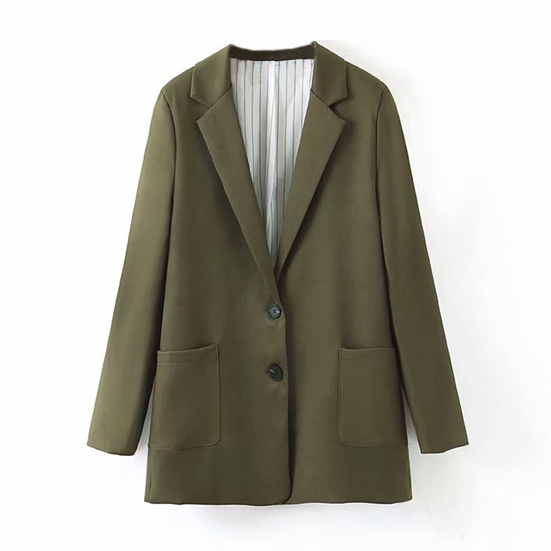 Lady Single Breasted Office Blazers Suit Autumn Army Green Color Pockets Fashion Coat Women Notched Neck Elegant Jacket Outwear