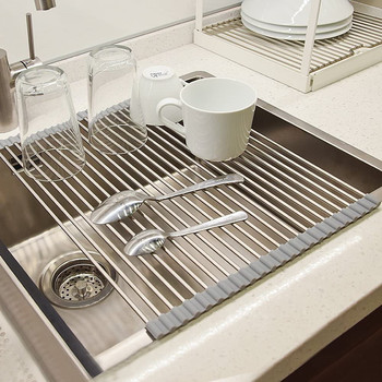 Roll up Dish Drying Rack Kitchen Sink Portable Drainer Foldable SUS304 Stainless Steel