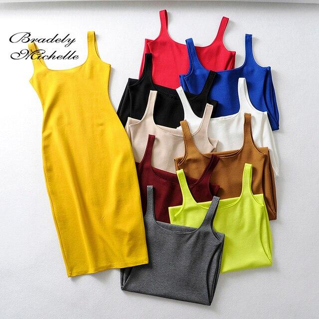 Bradely Michelle Summer Dress Vestido Women's Sexy Back Slit Sleeveless Bodycon Tank Knee-length Dress 1
