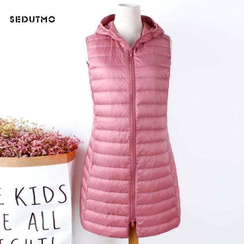SEDUTMO Winter Plus Size 3XL Womens Down Jackets Long Hooded Vest Ultra Light Waistcoat Autumn Coat Slim Parkas ED835
