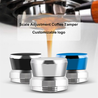 58.35MM Adjustable Handle Tamper Stainless Steel Base Detachable Base Powder Press Solid Hammer Coffee Accessories For Barista