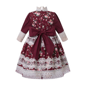 Image 2 - Pettigirl vestido largo clásico de chica de la boda, bordado de encaje floral, con tocado, G DMGD210 281 para niños, 2020