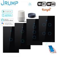 JRUMP Wifi akıllı dokunmatik anahtarı ses kontrol ışığı anahtarı ile kablosuz uzaktan kumanda duvar anahtarı çalışma Alexa Echo Google ev