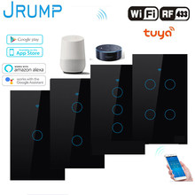 JRUMP Wifi Smart Touch Switch Voice Control Light Switch With Wireless Remote Control Wall Switch Work Alexa Echo Google Home