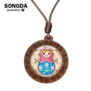 Collar SONGDA Vintage con muñeca rusa Matryoshka, cadena de cuerda, cúpula de cristal con patrón Folk, colgante de madera tallada, joyería artesanal para niños