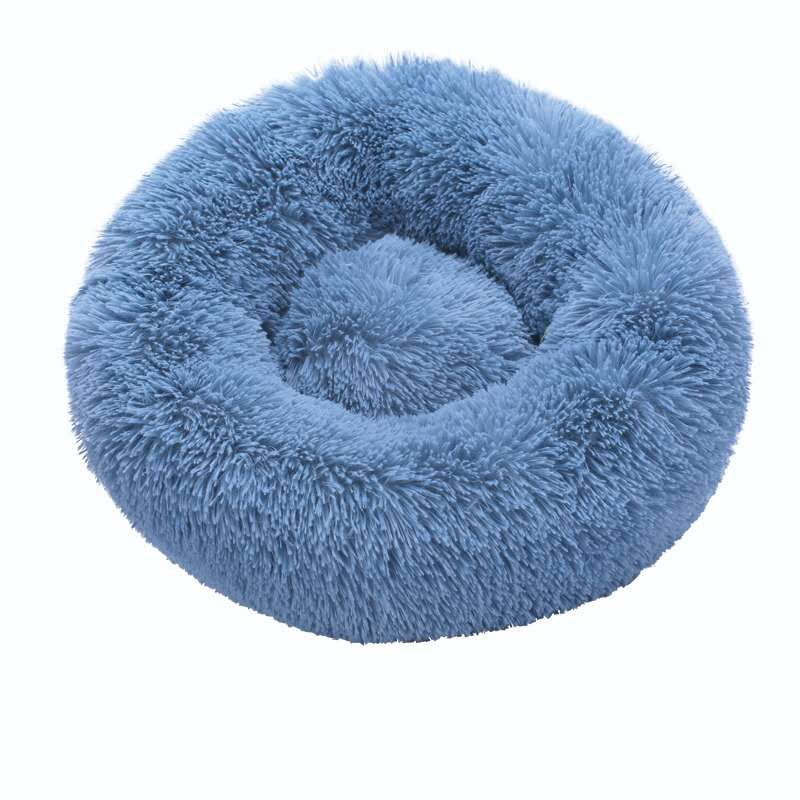 Blue-Round Cat Beds House Soft Long Plush Best Pet Dog Bed For Dogs Basket Pet
