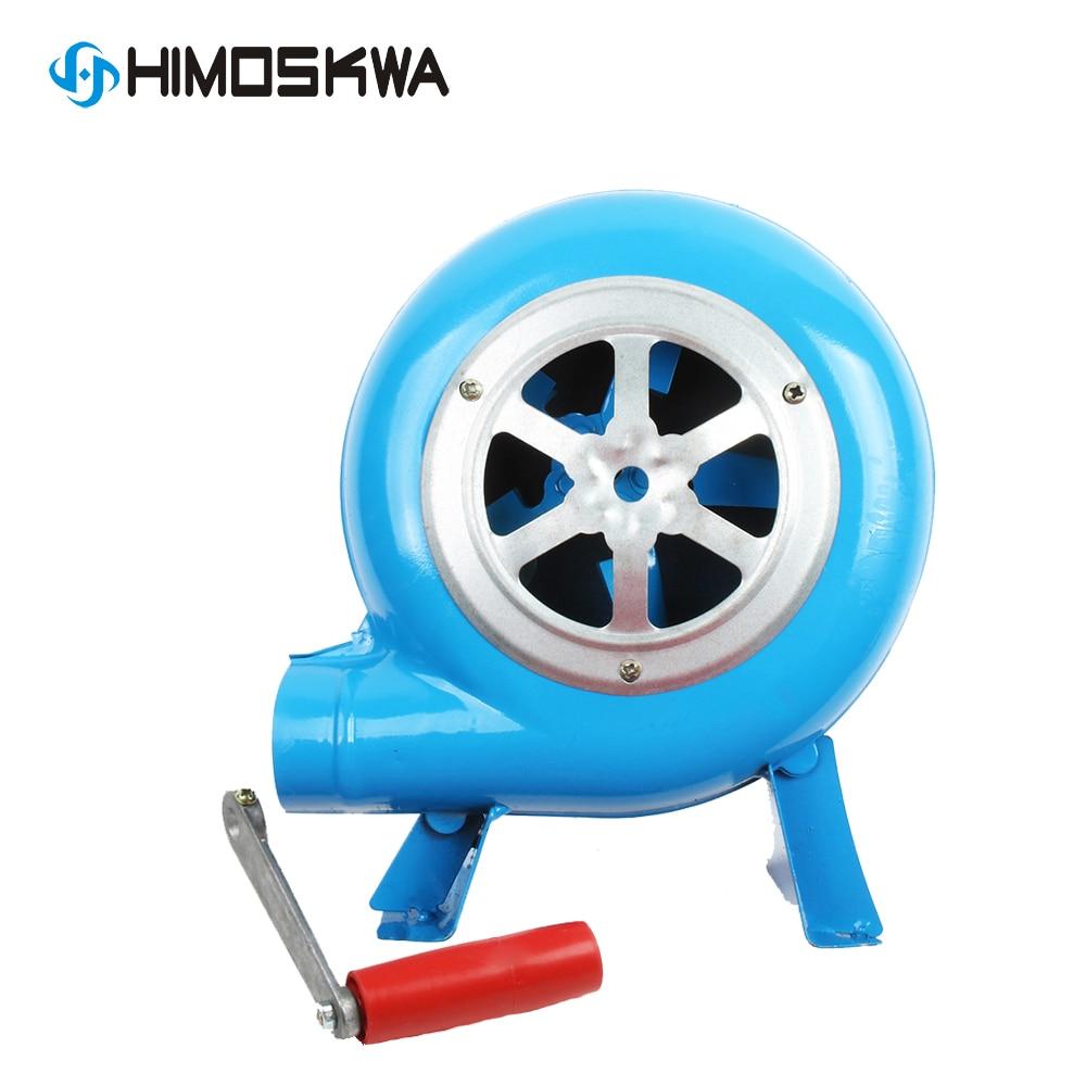 80w Metal Industrial Outdoor Barbecue Iron Gear Hand Crank Blower Hand Fan Manual Fire Blower Popcorn Fan Blue Model