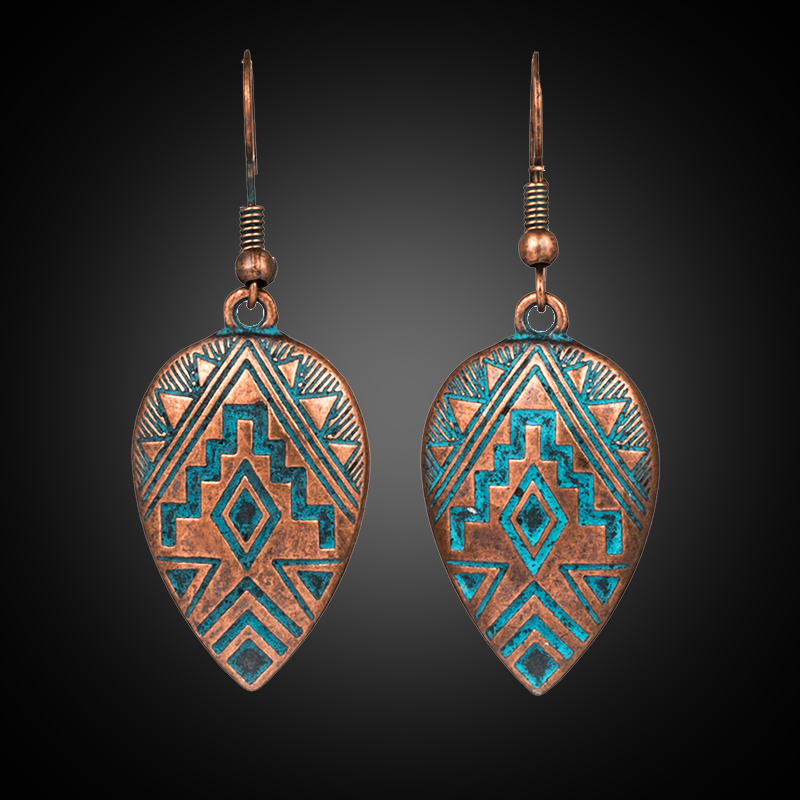 2019 New Trendy Vintage Ethnic Bohemian Water Drop Earrings For Female Women's Dangle Hanging Ear Ornaments Wedding Accessoies