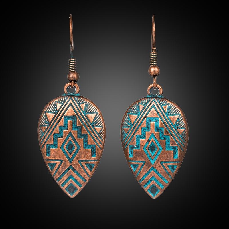 2019 New Trendy Vintage Ethnic Bohemian Water Drop Earrings For Female Women's Dangle Hanging Ear Ornaments Wedding Accessoies