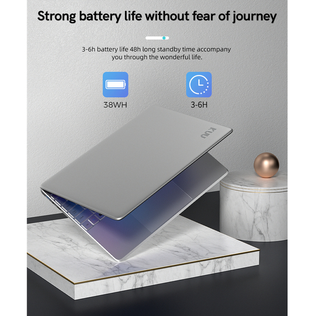 KUU A8S 15.6 inch Student Laptop 6GB RAM 256GB SSD Notebook For intel J3455 Quad Core Ultrabook With Webcam Bluetooth WiFi 5