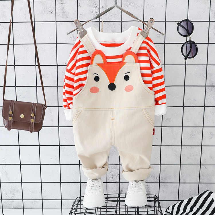Bayi Anak Laki-laki Anak Perempuan Musim Semi Musim Gugur Pakaian Set Anak Bergaris Lengan Panjang T-Kemeja + Bib Kartun Celana 2 Buah balita Gadis Pakaian