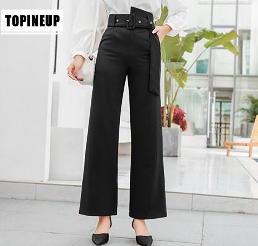 New 2019 Vintage Black Color high waist   wide     leg     pants   stylish spring Summer trousers Women