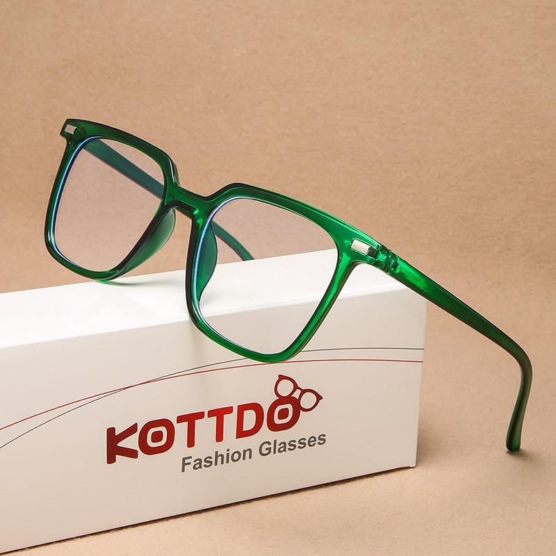KOTTDO Classic Green Square  Anti-blue Light Eye Glasses Frames For Men Vintage Plastic Eye Glasses Frames For Women