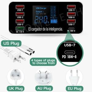 Image 5 - 8 יציאות QC3.0 USB מטען PD3.0 סוג C מהיר מטען עבור iPhone אנדרואיד Tablet דיגיטלי תצוגת מתאם עבור xiaomi huawei samsung