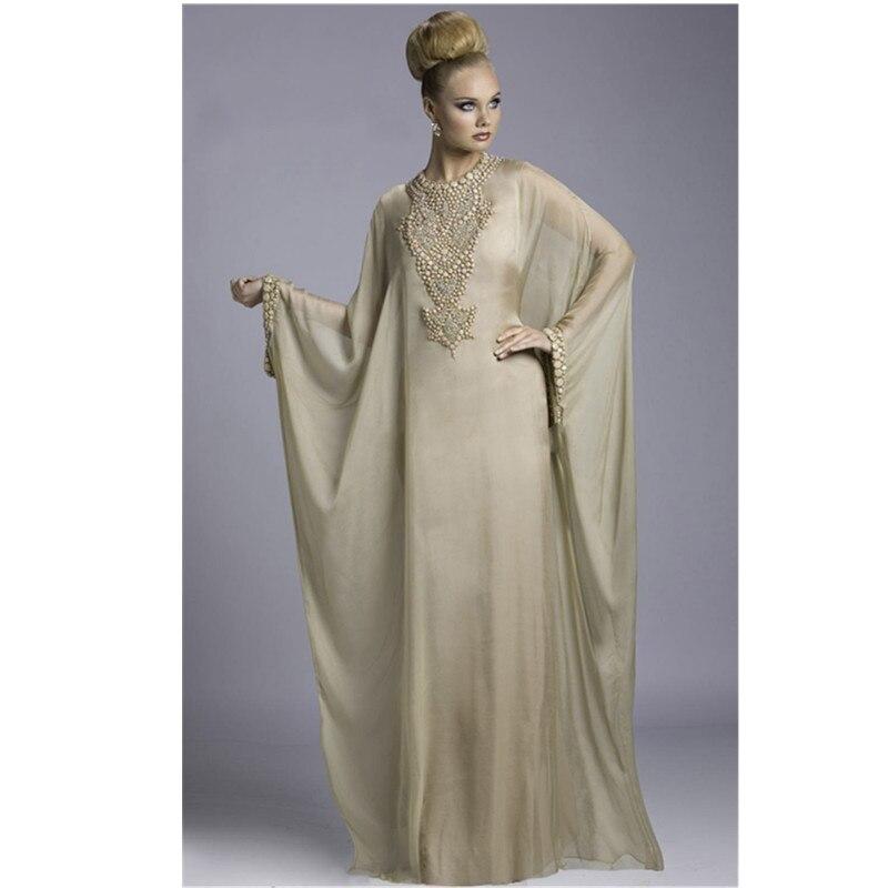 Transparente chiffon novos vestidos de baile botão chegada bordado a linha dubai marroquino kaftan abaya jilbab vestido islâmico