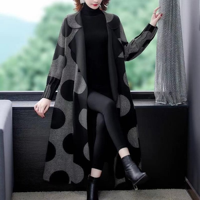 High Quality Fashion  Autumn Winter Women's  Woolen Long Coats Loose Middle Aged Mother Oversized Plaid Cape Drop-shoulder Wool 4