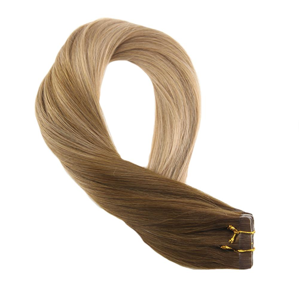 Moresoo Hair Extensions Tape In Human Hair Balayege Color Light Brown #8 Ombre To Golden Blonde #16 Skin Weft Tape On Remy Hair