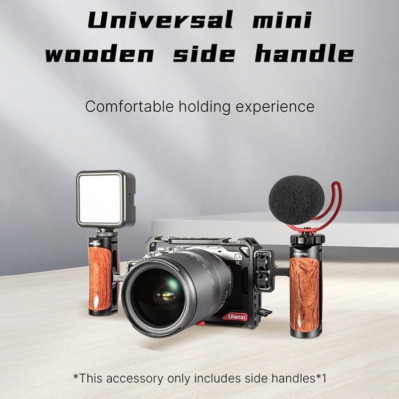 Ulanzi R075 Universal DSLR Camera Handgrip Sider Handle Grip with 1/4Inch Screw Cold Shoe Extend Mic Video Light