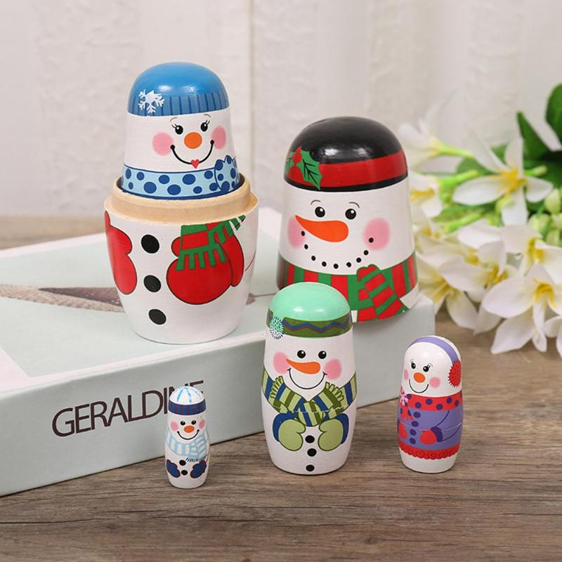 Hot Sale Matryoshka Toys Skillful Manufacture Wood Russian Nesting Doll 5 Layer Christmas Snowman Matryoshka Crafts Gift