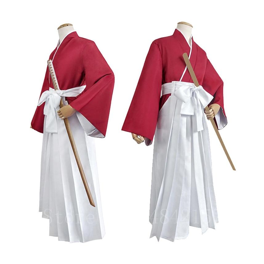Festa de Halloween Estilo Japonês Anime Cosplay Traje Himura Kenshin Quimono Fantasia Samurai Kendo Roupas Definir Calças Superiores Cinto