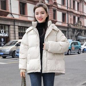 Image 3 - 2020 חדש סתיו חורף מעיל ברדס נשים מעיל Loose כותנה מרופדת קצר מעילי Parka חם מזדמן בתוספת גודל מעיל
