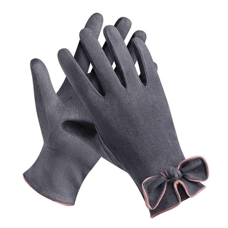 Full Finger Gloves Women Lady Heated Gloves Bow-knot Touch Screen Thermal Ski Gloves Outdoor Skiing Handwear 2019