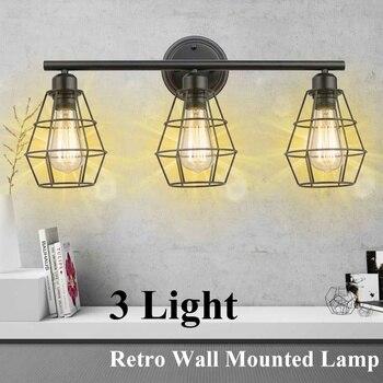 Smuxi Industrial Vintage Three Head Wall Sconce Lights American Restaurant Corridor Decor Wall Lights E27 LED Wall Lamp