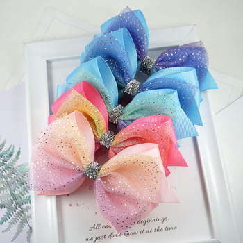 2pcs Glitter Knot Hair Bows Princess Lace Hair Clips With Bling Dots Hairpins For Girls Fashion Kids Headwear Hair Accessories