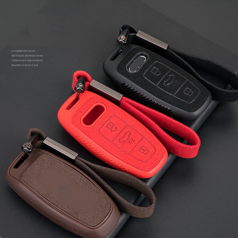 Car Suede Leather Key Case Cover Bag For Audi Q3 Q5 Q8 Q7 Sline C5 C8 A4 B6 B7 B8 B9 TT 80 S6 A1A4 B8 A5 A6 A7 A8 D5 TT 8P 8L