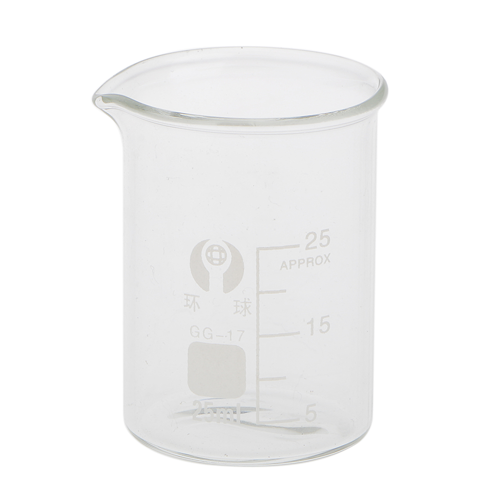 Scientific Graduated Glass Measuring Low Form Beaker 25ml Laboratory Supplies