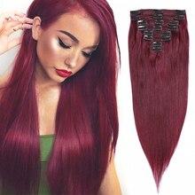 MRSHAIR 99J Burgundy Clip In Hair 8Pcs/set 100% Human Hair Extensions Natural Hair Clip Ins Wine Red Burgundy Machine Remy 22
