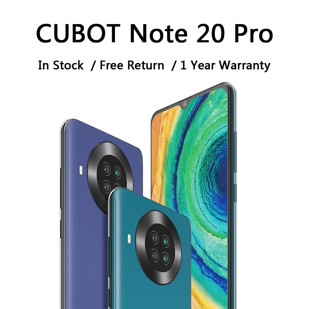 CUBOT Note 20 Pro сотовый телефон 4200 мА/ч, Батарея сзади Quad Камера 12MP NFC Смартфон 4g 6,5 ″ HD Дисплей Android 10 телефонных