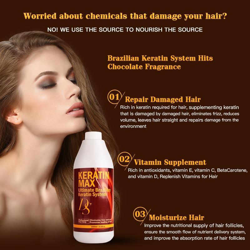 Купить с кэшбэком DS Max 1000ML Brazilian Keratin Treatment 8% Formalin Straighten and Repair Smoothing for Strong Cruly Hair Free Shipping