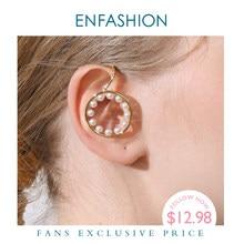 ENFASHION Perle Kreis Ohr Manschette Clip Auf Ohrringe Für Frauen Erklärung Gold Farbe Earcuff Ohrringe Ohne Piercing Schmuck E191106