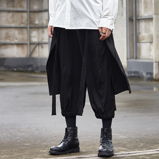New Mens Japanese Hip Hop Shorts Loose Harem Slim Pants Splice Cotton Blend