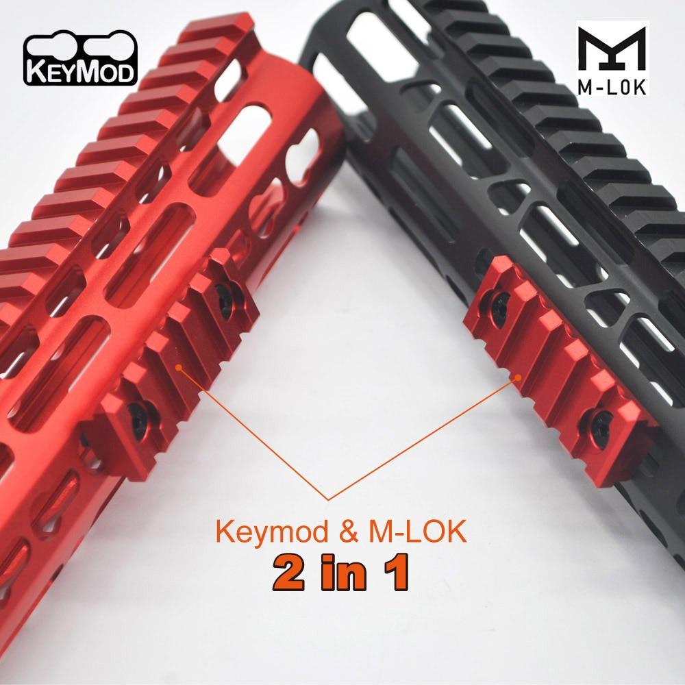 Picatinny Rail Section 5 Slot Dual interface for Both Keymod/& M-lok Mount System