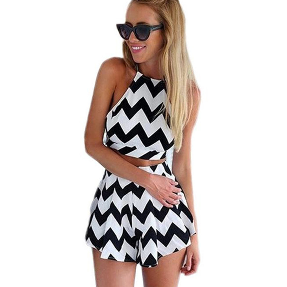 2020 New Fashion Summer Wearing A Striped Mini Dress And Sexy Print Halter Dress Suit Free Shipping Dress Women  Sexy & Club