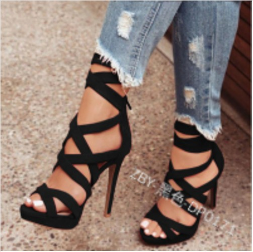 Sandals Women Ankle-Strap Thin-Heels Ladies Shoes Classics Peep-Toe Fashion Solid Super-High