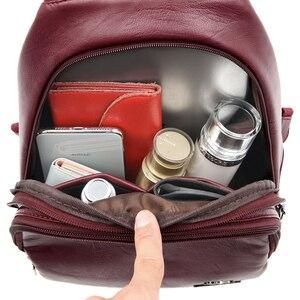Image 5 - Novas mulheres cinto casual mochila de couro genuíno macio mochila moda canguru imprimir sacos de escola para adolescentes meninas sac